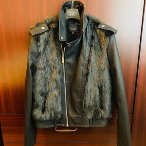 BRAND NEW FAUX FUR LEATHER JACKET